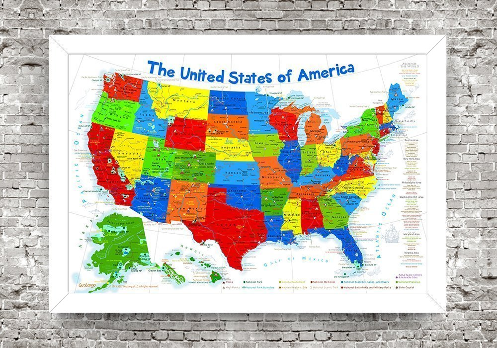 USA Map for Kids | Pin Map or Wall Map | Framed map on foam core | Includes 100 map pins | Size: 24x18 inch map + Frame by GeoJango
