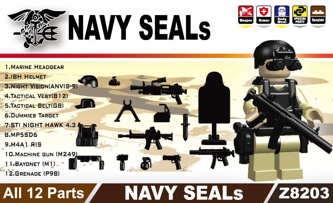 Buy Navy Seals Gear Pack in Black (12 Pieces) - LEGO