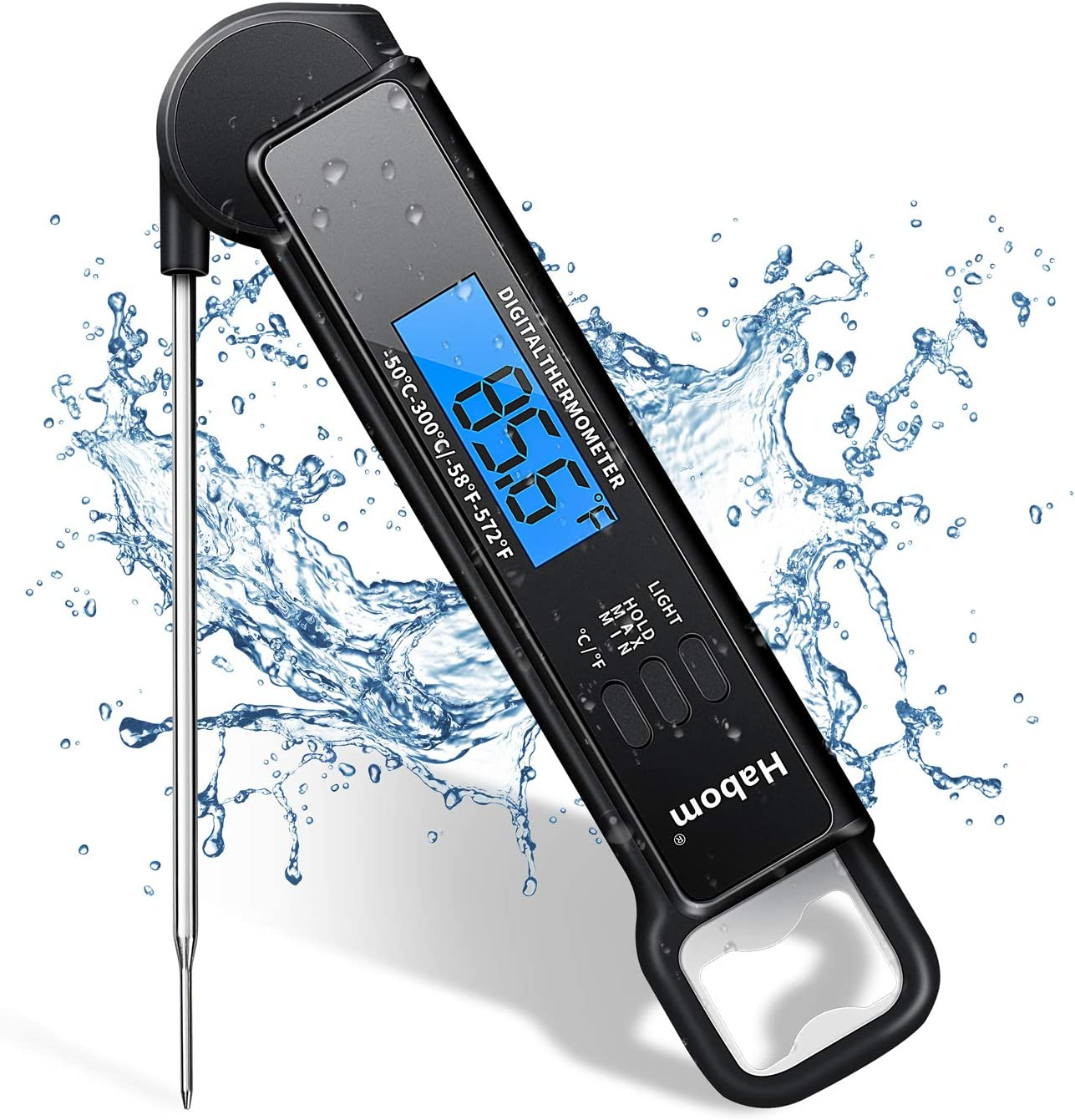 HABOM Instant Read Meat Thermometer for Grill and Cooking-Waterproof Ultra Fast Thermometer with Backlight & Calibration. Digital Food Probe for Kitchen, Outdoor Grilling and BBQ!