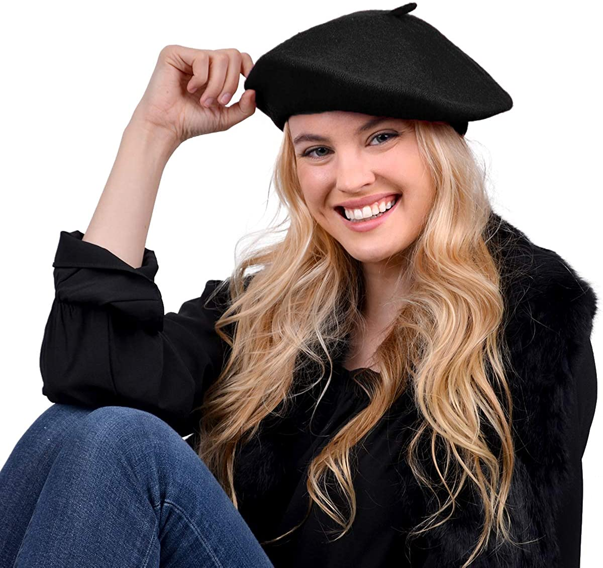 Nollia Women's Solid Color French Beret Wool Material. Classic French, Casual and Chic Lightweight Beanie Cap Hat, Black at  Women's Clothing store