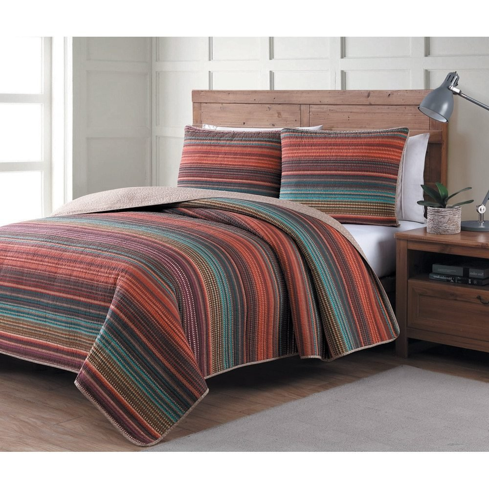 3 Piece Gem Tones Colorful Rainbow Stripes Quilt Full Queen Set, Summer Lightweight Striped Bedding, Jewel Colors Red Purple Green Orange Brown Teal Yellow, India Pattern, Reversible Polyester