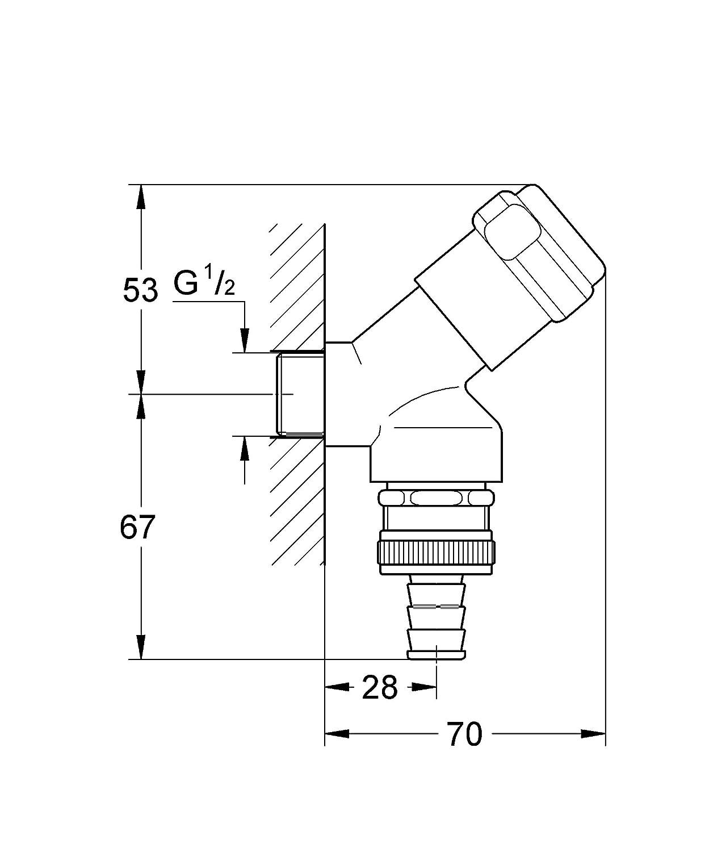Sicherungstechnik TEC383001 1//2 Zoll Armaturenkombination GROHE Eggemann 41190000 Cornat chrom Hahnrosette 1//2 Zoll x 5 mm