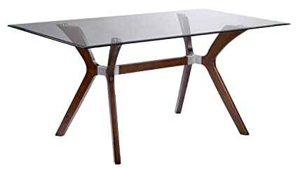 c10ce72dbd9 Image Unavailable. Image not available for. Color  Milan LULU-DT-RCT Lulu Rectangular  Clear Glass Walnut Dining Table