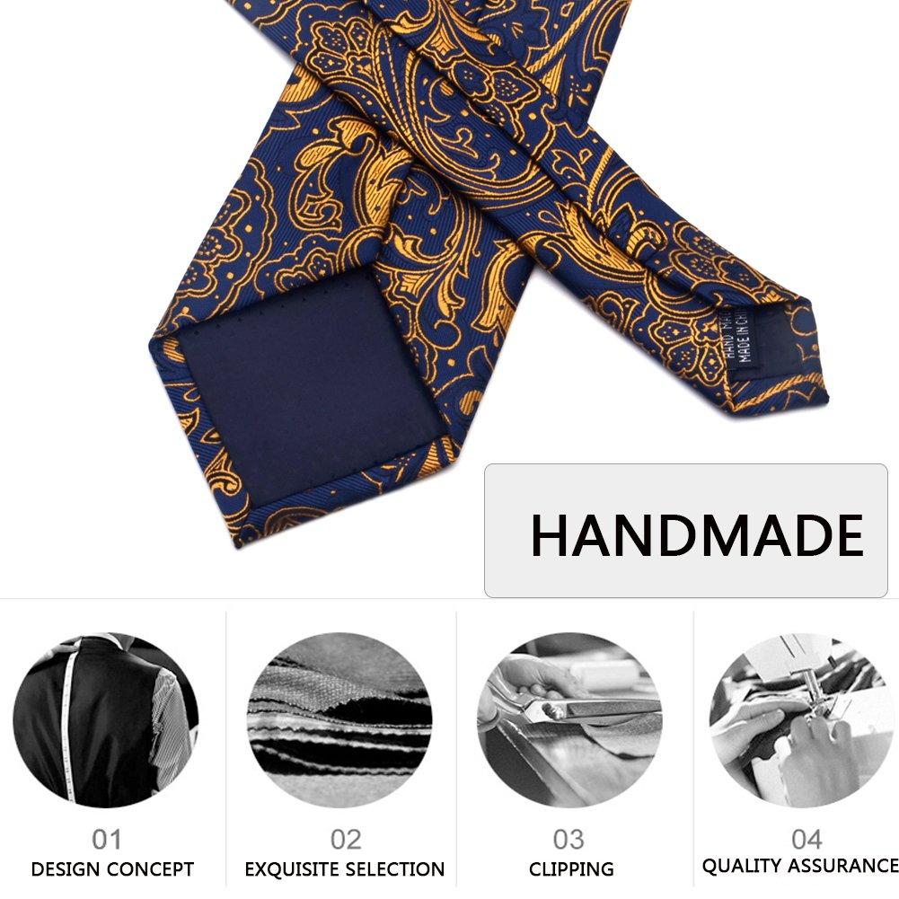 Paisley Ties for Men Jacquard Woven Necktie FXICAI Business Fashion Classic Casual Tie Bar Clip Set (Golden) by FXICAI (Image #4)
