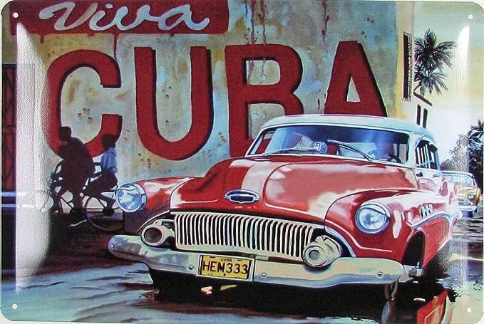 Blechschild 20x30cm Gewölbt Viva Cuba Oldtimer Car Auto Kuba Retro Deko Geschenk Schild Küche Haushalt
