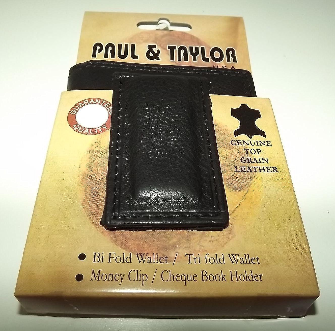 Paul/&Taylor Mens Leather Bifold Wallet Magnetic Money Clip Inside