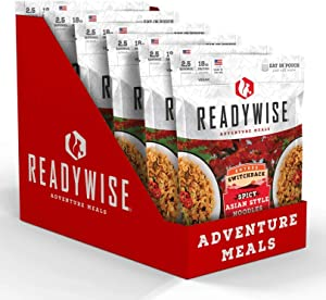 ReadyWise Switchback Spicy Asian Style Noodles (6 Count) | Freeze-Dried Backpacking & Camping Food | 15 Servings | Vegan