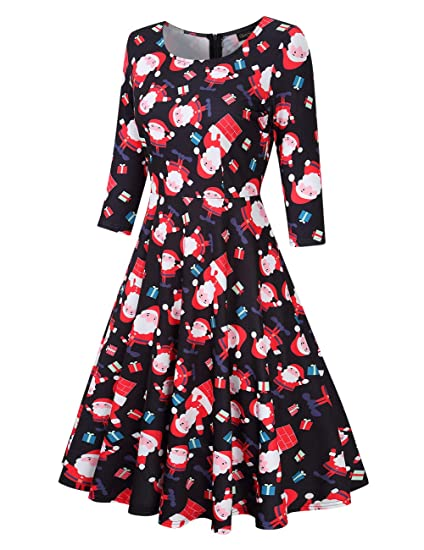 beff957395 Amazon.com  GloryStar Women s 3 4 Sleeve Christmas Dresses Vintage Cocktail  Fit Flare A line Swing Dress Xmas Gifts  Clothing