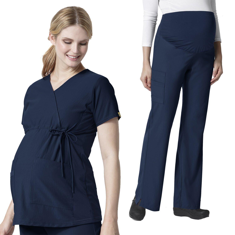Maternity Stretch Mock Wrap Scrub Top &Maternity Flare Cargo Pant Scrub Set [XS - 3XL]+ FREE GIFT