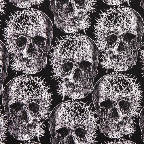 black Michael Miller skull needle Halloween fabric Freak Out (per 0.5 yard multiples)]()