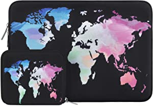 MOSISO Laptop Sleeve Compatible with 13-13.3 inch MacBook Pro, MacBook Air, Notebook Computer, Water Repellent Neoprene World Map Bag with Small Case