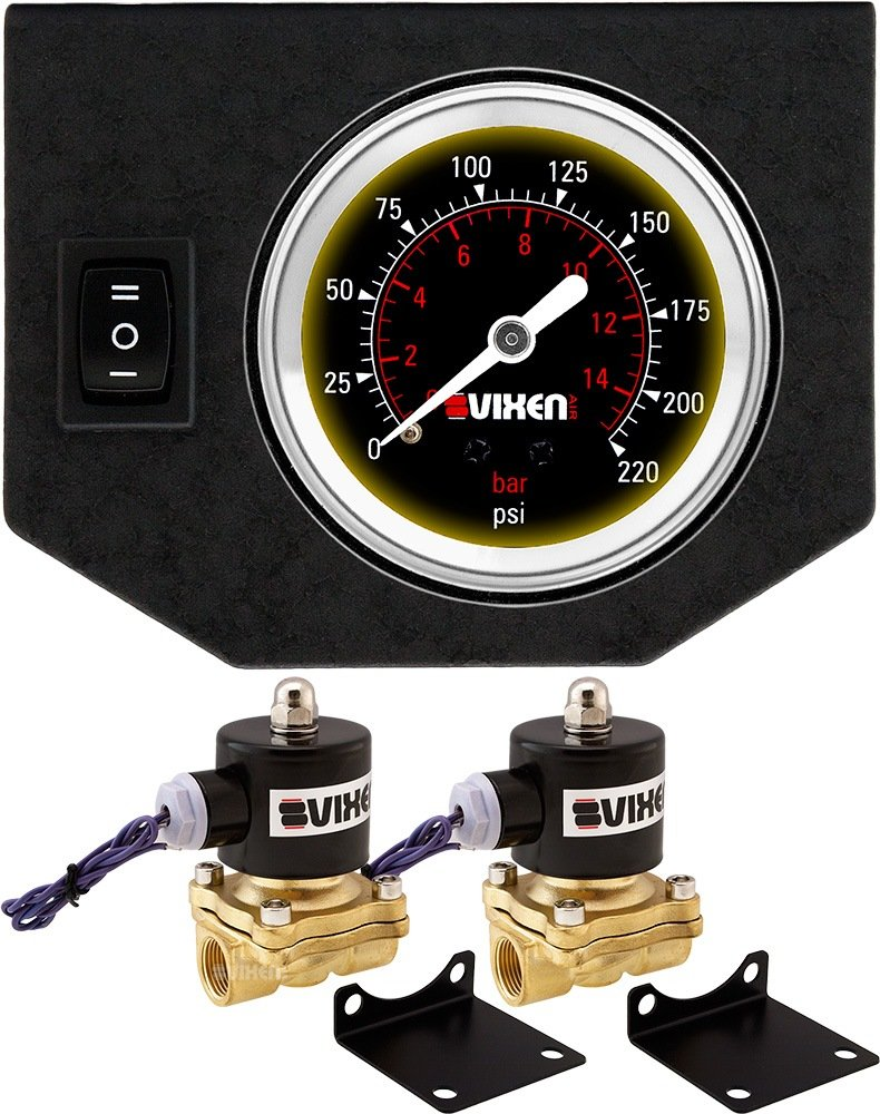 Vixen Air 3//8 NPT Electric Air Valve 210PSI 12V Solenoid 2-Pack with 1 Single Needle Gauge//1 Switch Dash Panel Kit White VXF0G2038W
