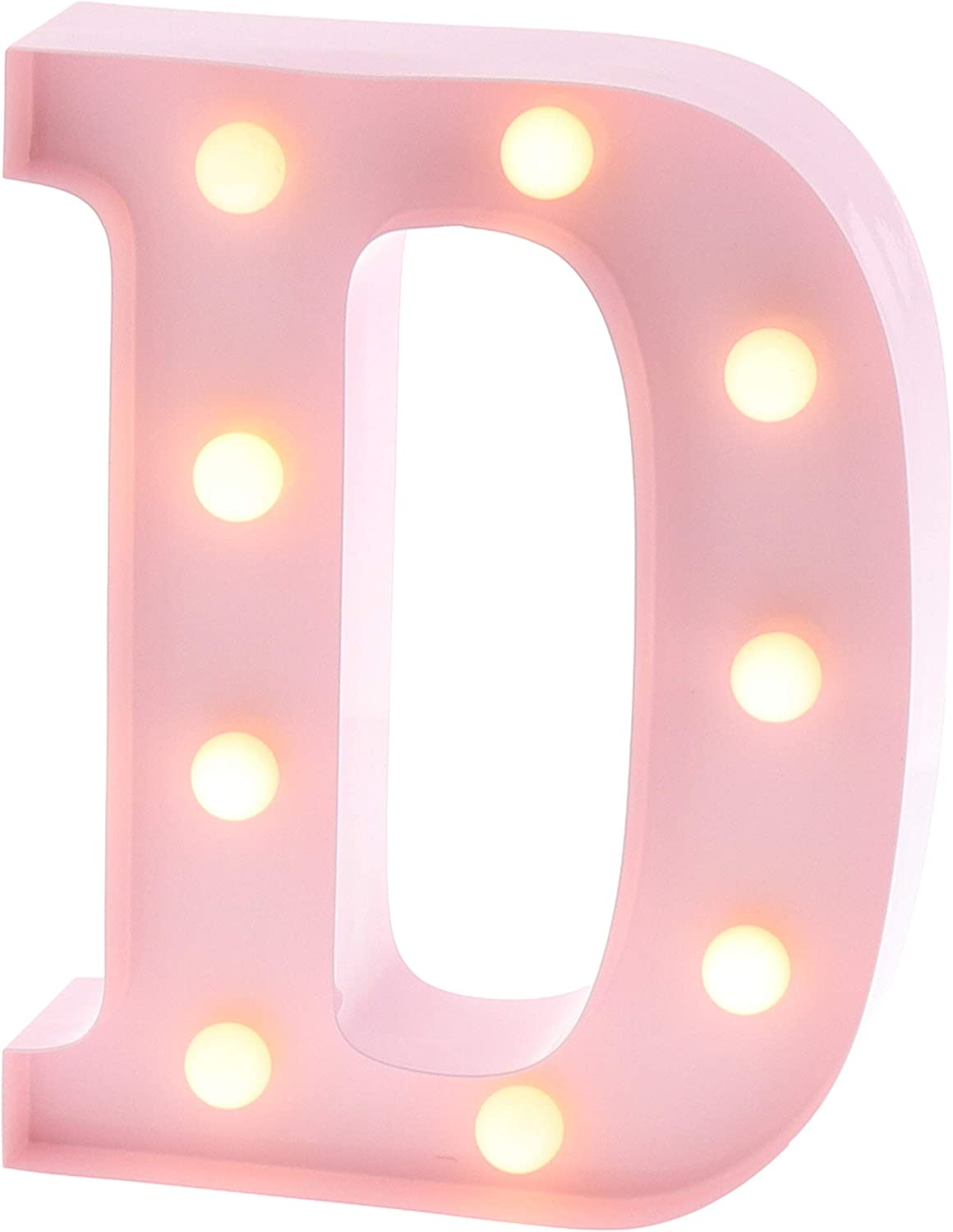 """Barnyard Designs Metal Marquee Letter D Light Up Wall Initial Nursery Letter, Home and Event Decoration 9"""" (Baby Pink)"""