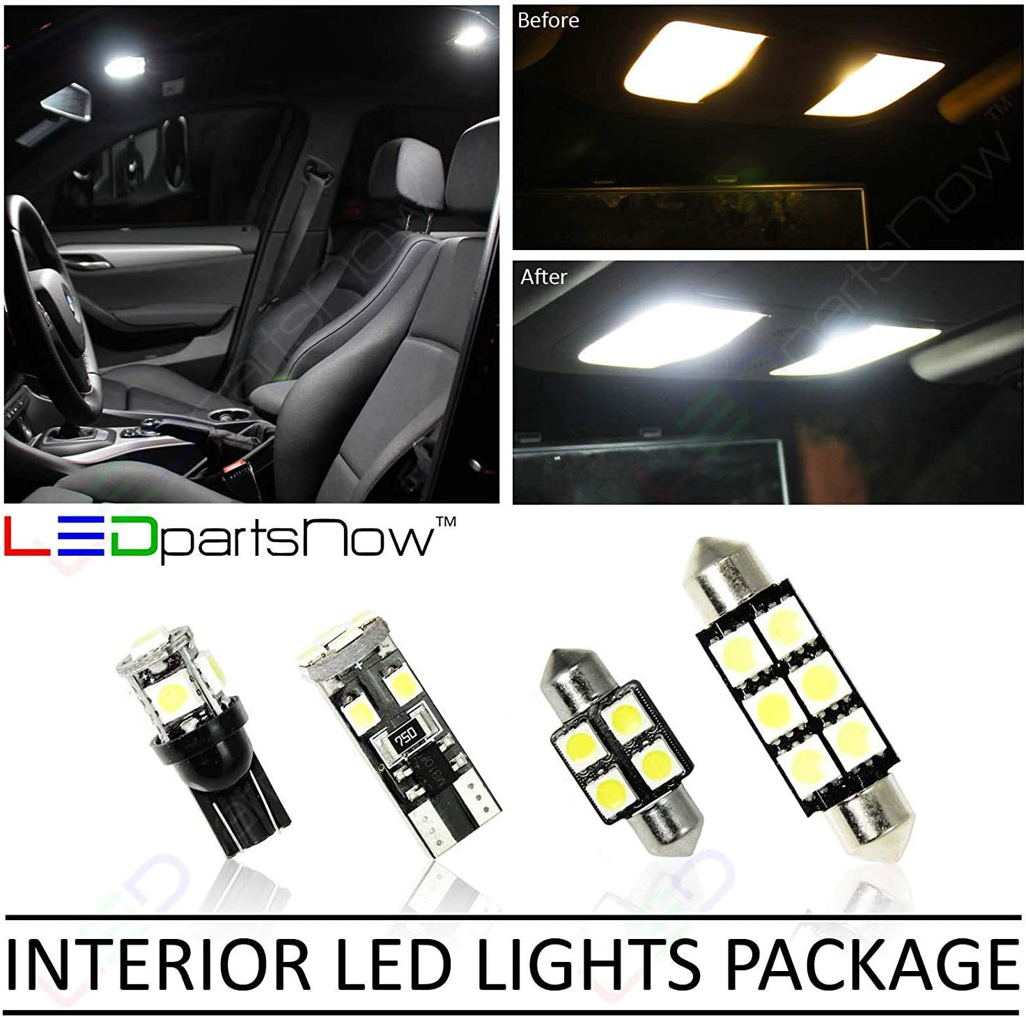 Interior Light LED replacement kit for BMW E46 3 SERIES 16 pcs COOL WHITE 6000K