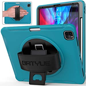 iPad Pro 12.9 Case 2021&2020&2018, BATYUE [Supports Apple Pencil 2 Wireless Charging] [Shock Proof] Rugged Case w/360° Rotating Stand/Hand Strap for iPad Pro 12.9 5th/4th/3rd Generation (Light Blue)