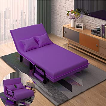Amazon Com Folding Bed Frame Sofa Bed Multifunction Folding Sofa Bed Adjustable Guest Bed Portable Easy To Fold Leisure Recliner Lounge Couch Bed Frames Color Purple Size 100x195x26cm Furniture Decor