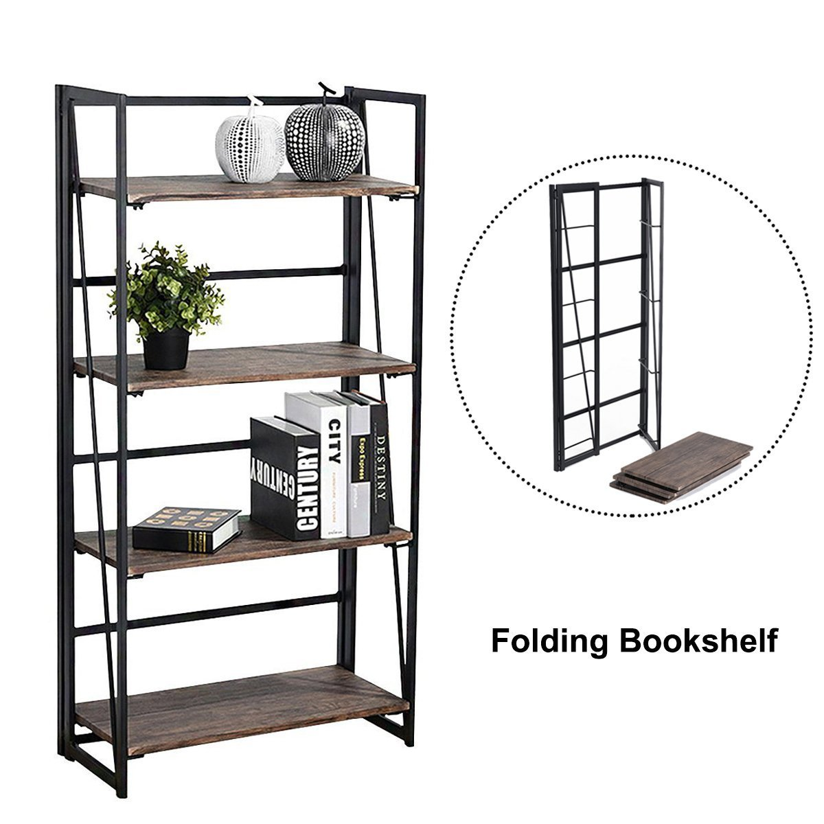 4 Tiers Bookcase Folding Bookshelf Rack Pre-Assembled Modern Home Office Furniture Sturdy Multi-Purpose Shelf Storage Storage Rack, Color Walnut Homycasa