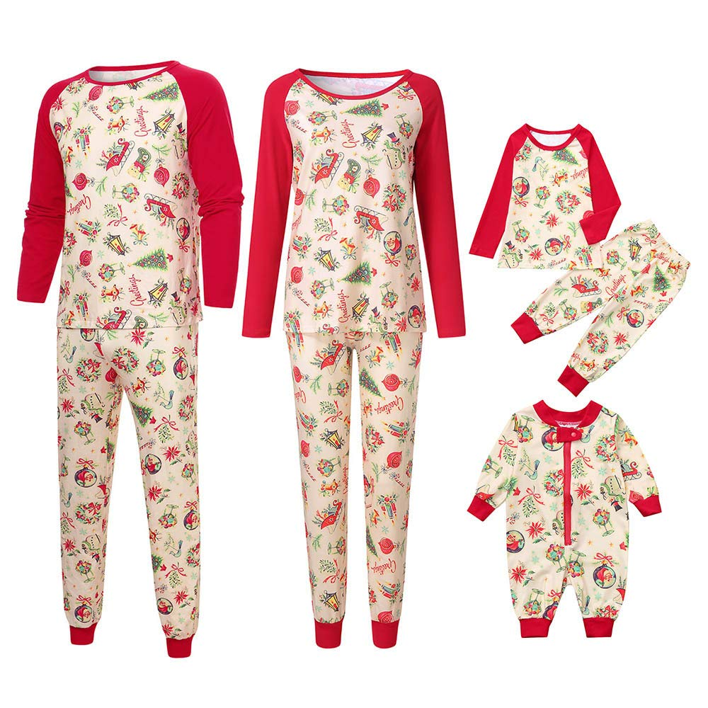 HLHN Matching Family Pajamas Christmas Outfits Sleepwear Clothes Set Tops + Pants Letter PJS Parent-Child 2PCS Long Sleeve Adults Kids Jammies HLHN (TM)