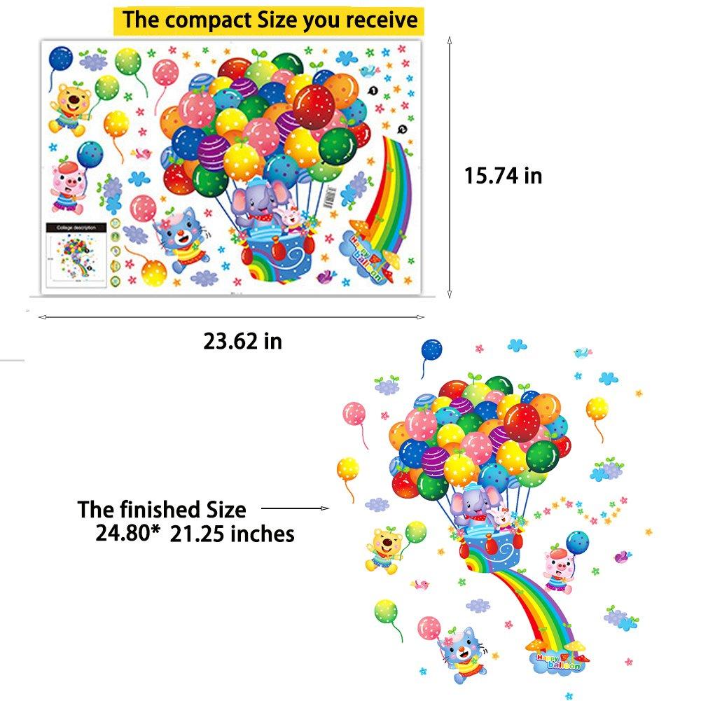 Cartoon Wall Decals Rainbow Animal Stickers Hot Air Balloon Vinyl Peel /& Stick Mural Art Wallpaper for Kids Children Baby Family Bedroom Living Room Nursery Room School DIY Decor Rainbow Balloon Cool Wall Decal Sticker Vinyl