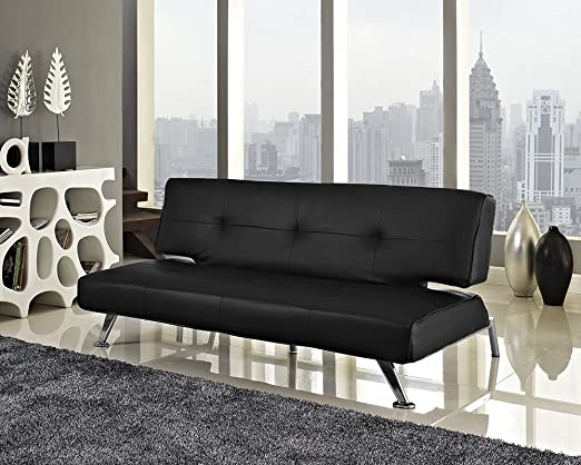 Negro o blanco de piel sintética sofá cama 3 plazas ...