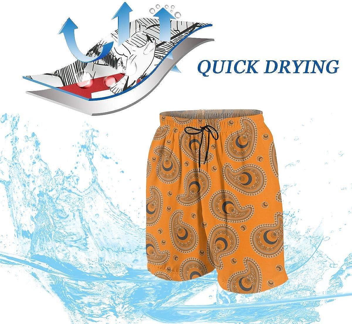 Homemen Boys Trunks Swimwear,Orange and Gray Peacock Paisley/_1654