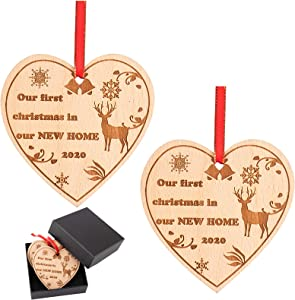 2 Pcs Our First Christmas in Our New Home 2020 Wood Slice Ornament with Gift Box and Gold Ribbons- Elk Snowflakes Laser Engraved Wood Christmas Ornament for Housewarming Holiday Decoration Gift