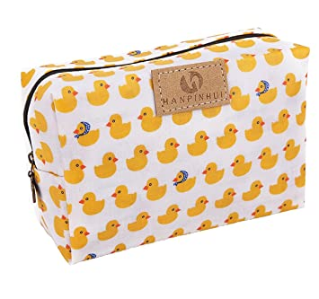 e3dc92d7af50 Cute Travel Makeup Pouch Cartoon Printed Toiletry Cosmetic Bag for Girls,  Women (Yellow duck)
