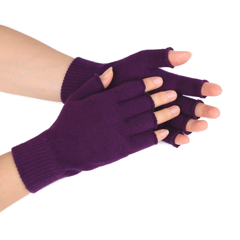 e50461841 ... Flammi Womens Wool Knit Fingerless Gloves Plain Knit Basic Gloves F  Flammi ...