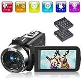ビデオカメラ デジタルカメラ カムコーダー カメラ HD 1080P 30FPS 30.0MP 3インチLCD液晶画面 タッチスクリーン ナイトビジョン タイムラプス&スローモーション検知 機能リモコン付属