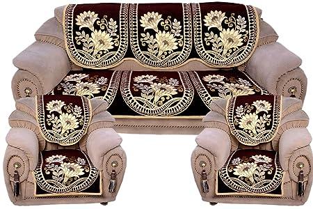 vivek homesaaz Polycotton Sofa Cover(Brown, Standard) - Set of 10