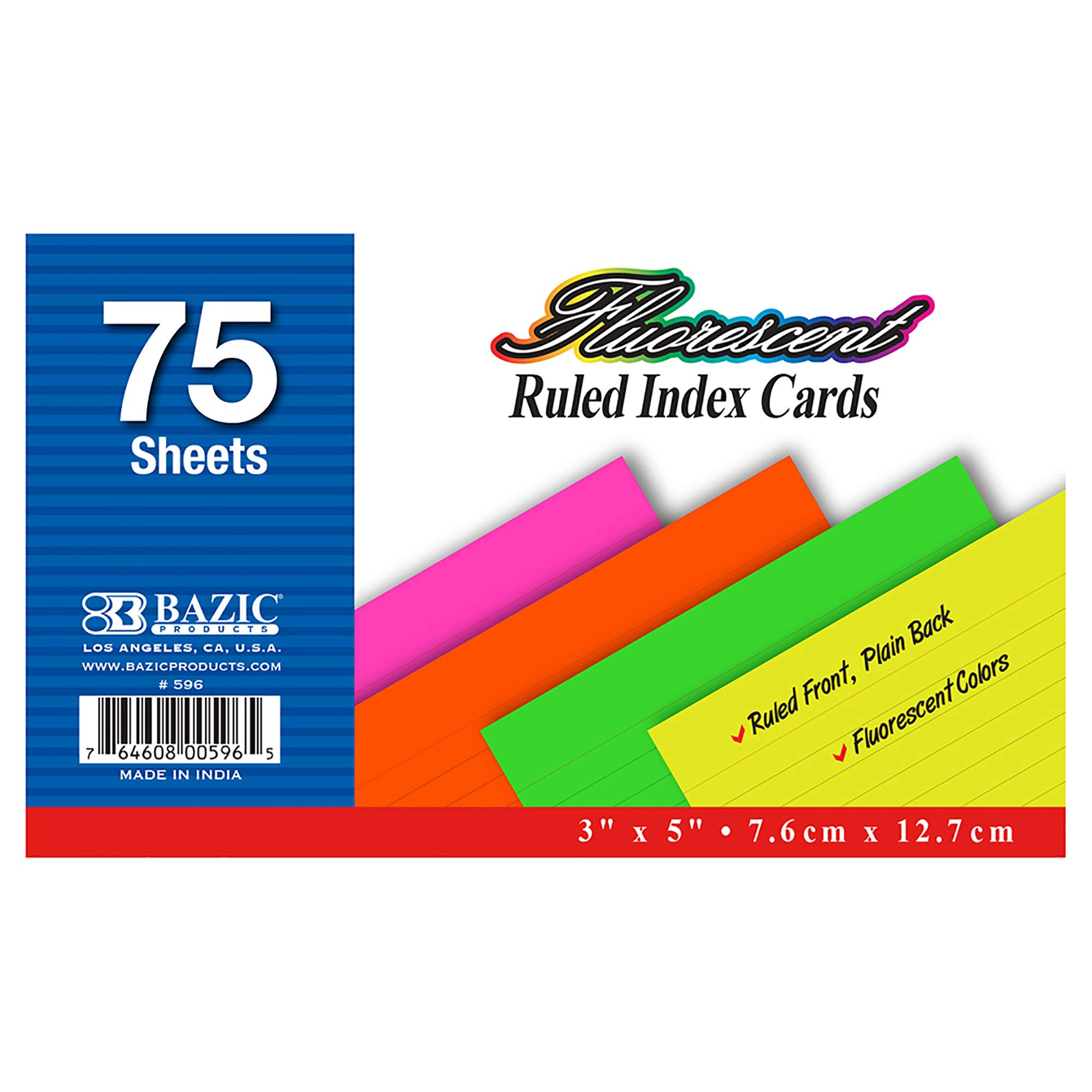 BAZIC 75 Ct. 3'' X 5'' Ruled Fluorescent Colored Index Card (Case of 36) by B BAZIC PRODUCTS