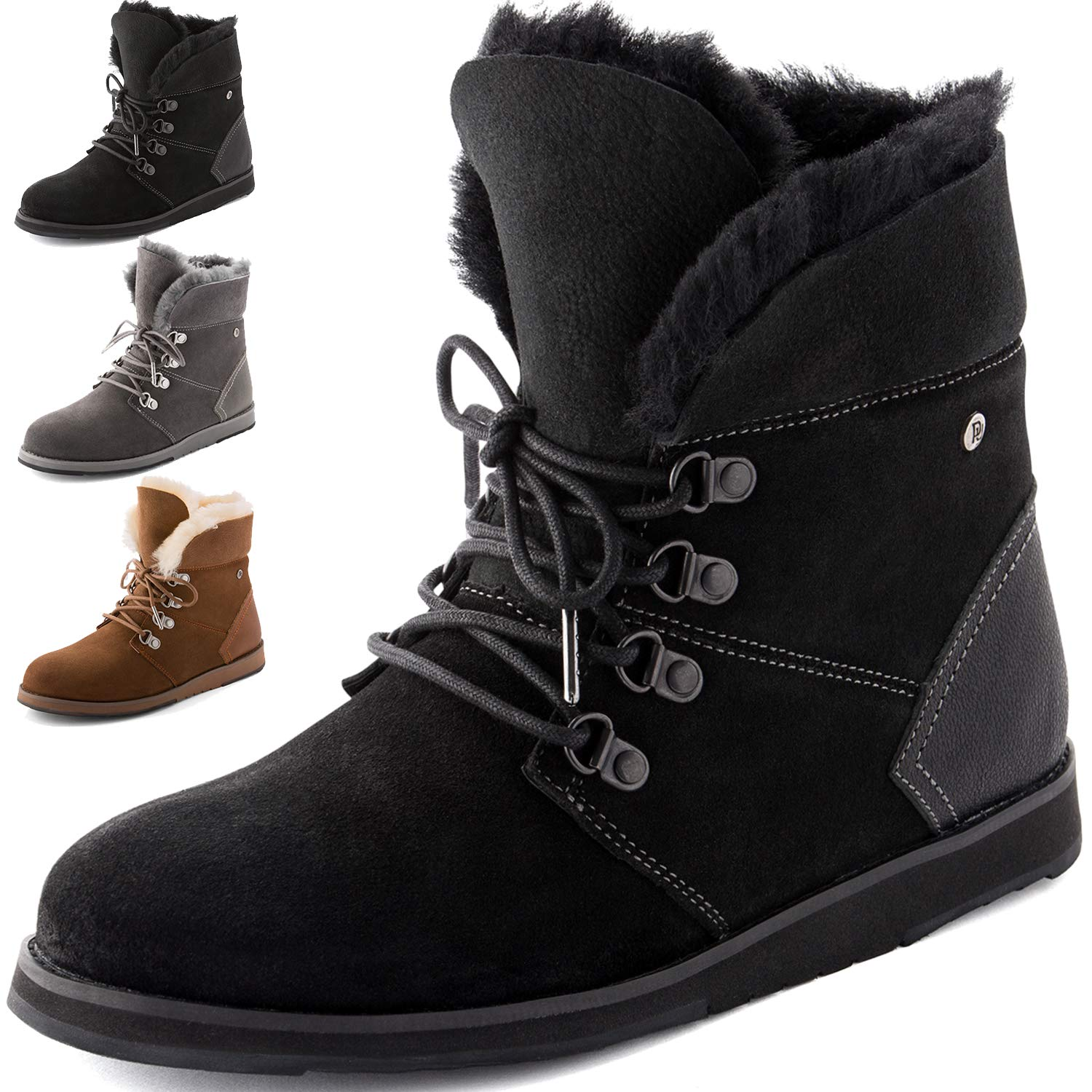 66ebb03942f Winter Boots for Women, Waterproof Sheepskin Shoes, High Density EVA Sole  (Flexible), Natural Sheep Wool, Leather Booties