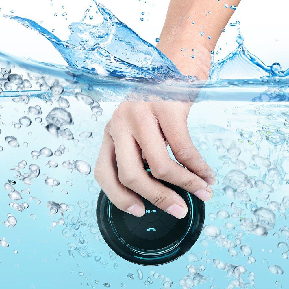 Guzack Bluetooth Shower Speaker,Wireless Waterproof Speaker with FM Radio,Portable Rugged Audio Hands-Free Speakerphone for Smartphone Black