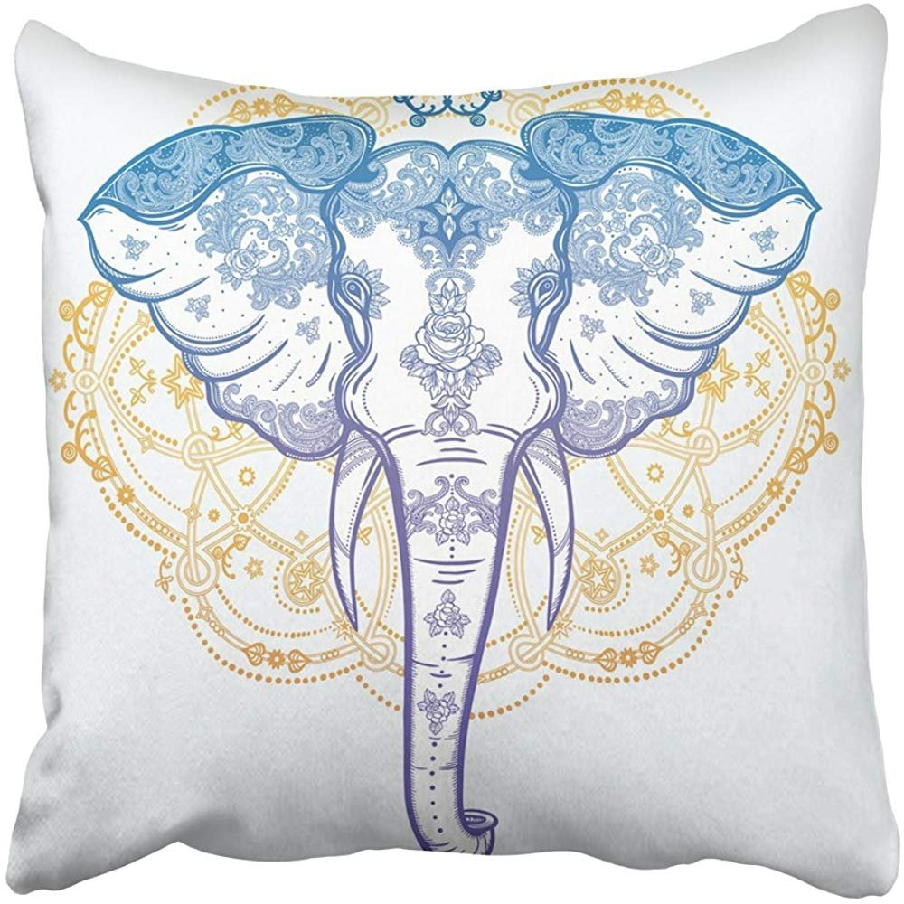 Staroutah Throw Pillow Cover 18''X18'' Decorative Polyester Colorful Elephant With Beautiful Ornaments Ideal Ethnic Tattoo Yoga African Indian Thai Pillowcase Print Two Sides Deco Home by Staroutah