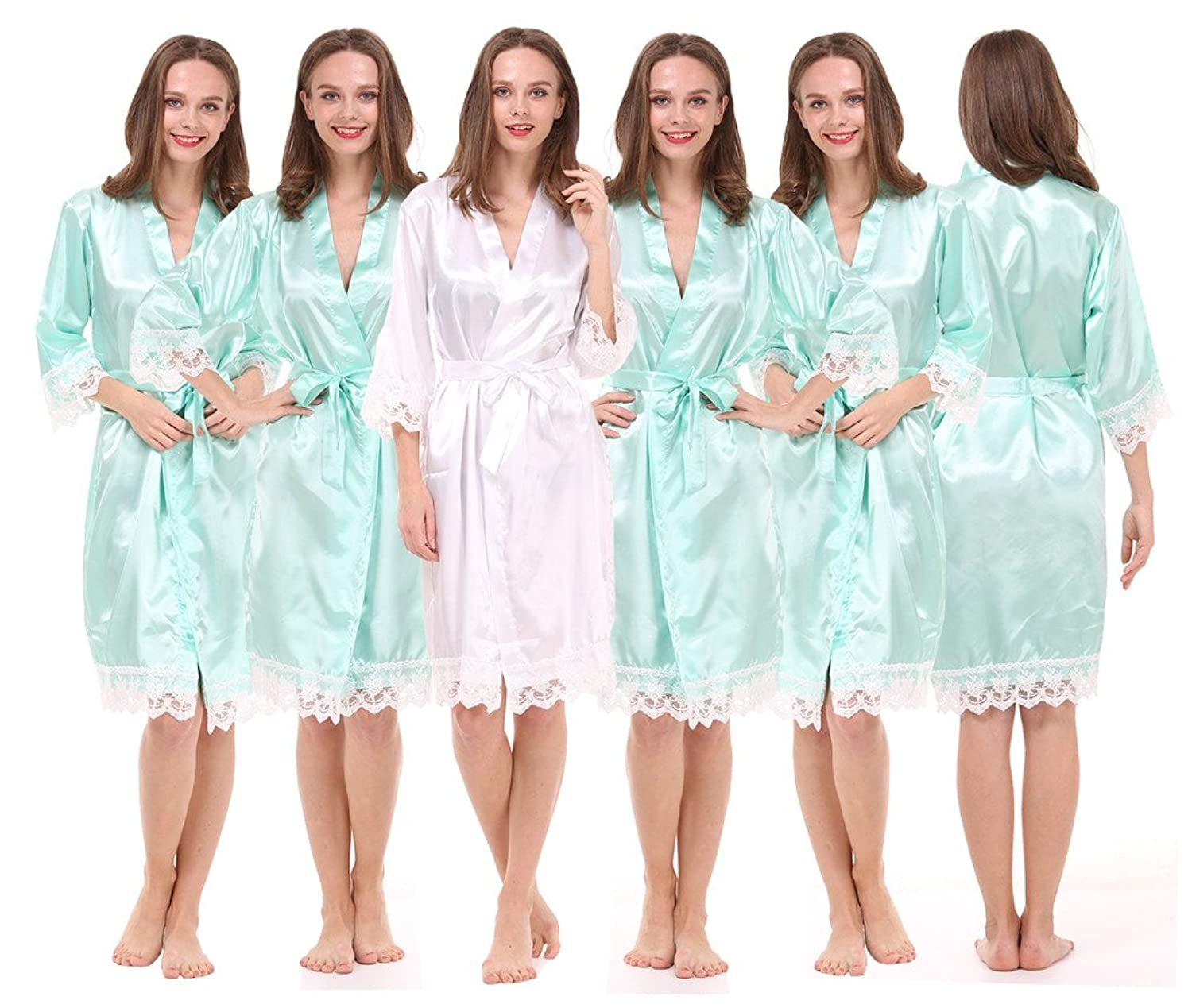 Set of 6 Women's Satin Robes for Bride and Bridesmaid with Lace Trim