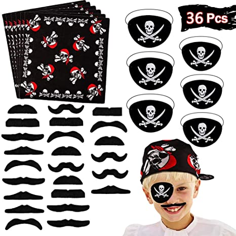BESTZY 36pcs Accesorios para Disfraz de Pirata para niños Capitán Traje Set Pirate Eye Patch Pirata Bandana Fake Bigote para Niños Accesorios de ...