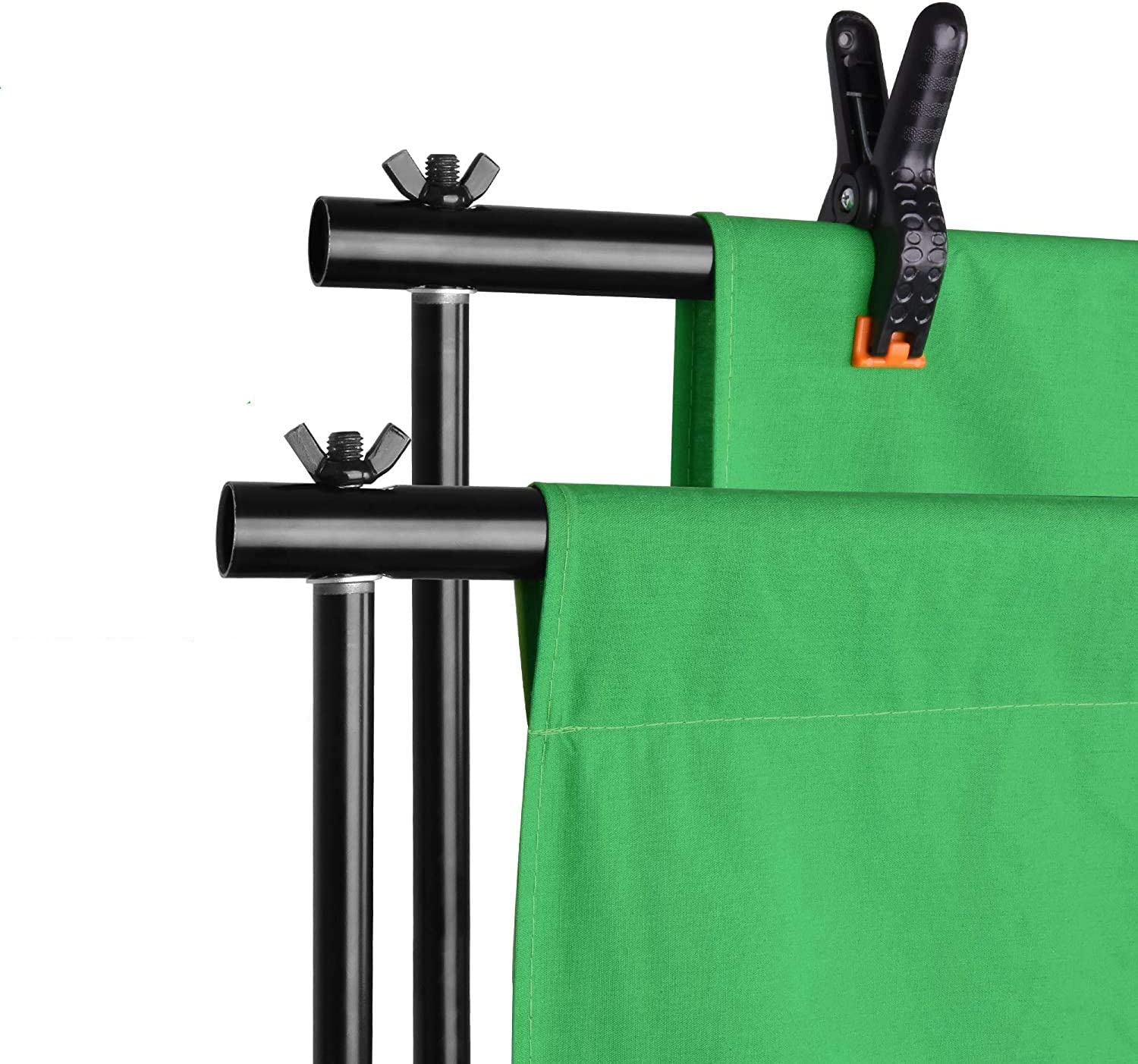 Photo Studio Clamps Clips 6.5 x 6.5ft Photography Background Support System with 6.5 x 10ft Cotton Muslin Chromakey Backdrop Selens Green Screen Backdrop Stand Kit