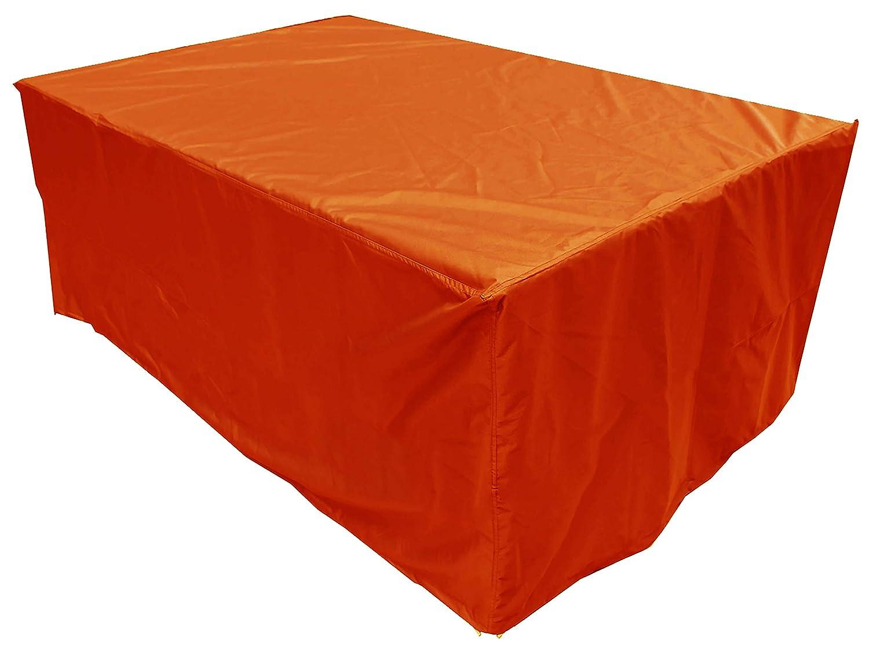 KaufPirat Premium Abdeckplane 145x90x75 cm Gartenmöbel Gartentisch Hülle Abdeckung Haube Schutzhülle Abdeckhaube Orange