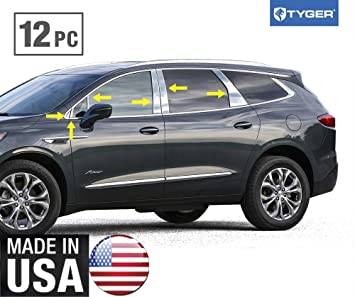 TYGER For 2007-2017 Buick Enclave 4PC Stainless Steel Chrome Pillar Post Trim