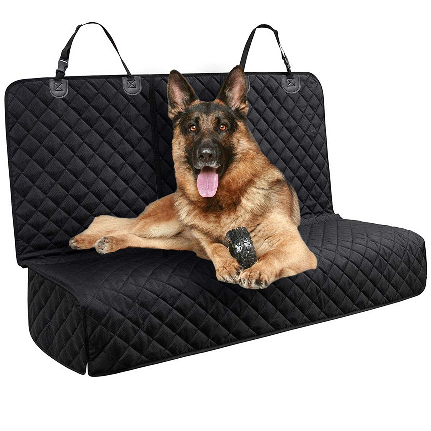 DakPets Dog Car Seat Covers – Pet Car Seat Cover Protector Waterproof, Scratch Proof, Heavy Duty and Nonslip Pet Bench Seat Cover – Middle Seat Belt Capable for Cars, Trucks and SUVs