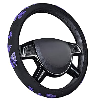 CAR PASS Pretty Butterfly Universal Steering Wheel Cover,Fit for Suvs,Vans,Trucks,Sedans,Cars(Black and Purple) : Automotive