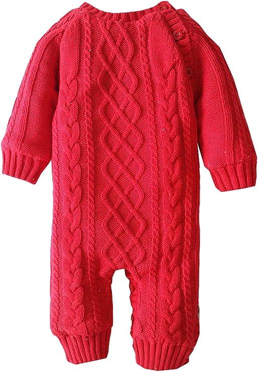 La vogue Peleles de Punto Bebé Recién Nacido Mono con Botones Pijamas Felpa Invierno Rojo 2A/12-18 Meses: Amazon.es: Ropa y accesorios