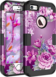 LONTECT Compatible iPhone SE Case iPhone 5/5s Case Floral 3 in 1 Heavy Duty Hybrid Sturdy High Impact Shockproof Protective Cover Case for Apple iPhone SE/5s/5, Purle Flower/Black