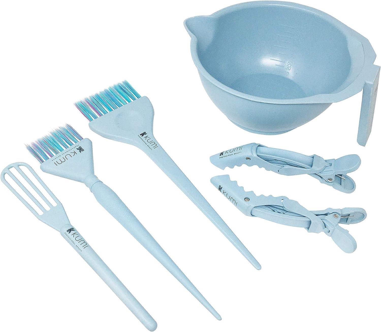Kumi Wheat - Juego de 6 piezas de tinte azul ecológico, cuenco para tinte, batidor, cepillo grande, cepillo pequeño y 2 clips de sección