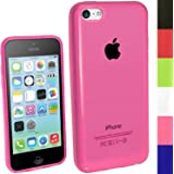 iGadgitz Pink Glossy Durable Crystal Gel Skin (TPU) Case Cover for New Apple iPhone 5C Mobile Phone 4G LTE + Screen Protector (NOT suitable for iPhone 5 & 5S)