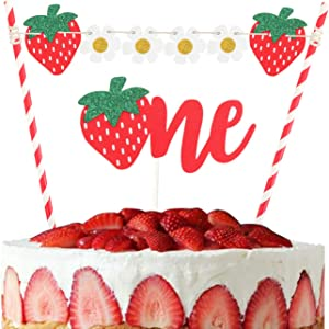 LILIPARTY Set of Strawberry One Cake Topper, Fruit Theme Cake Topper with Flowers Bunting for Baby Girls Boys 1st Birthday Party Decorations Summer Pool Party Supplies