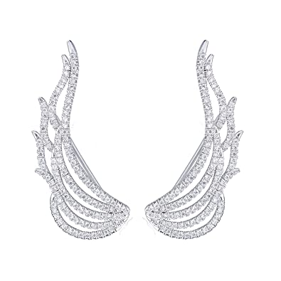 EAR VINES Angel Wings Ear Cuff Pins CZ Crystal Hook Earrings Silver Tone nMzccGRvQ
