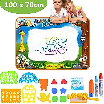 Towinle Agua Dibujo Pintura Alfombra de Agua Doodle para niño 100 x 70cm Pizarra Mágica, Esteras de Agua Doodle.