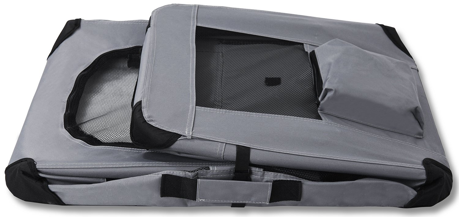 """Paws & Pals Foldable Soft Sided Pet Crate Training Kennel Carrier for Cats and Dogs – 24"""" x 17"""" x 16"""" Inches Gray by Paws & Pals (Image #5)"""
