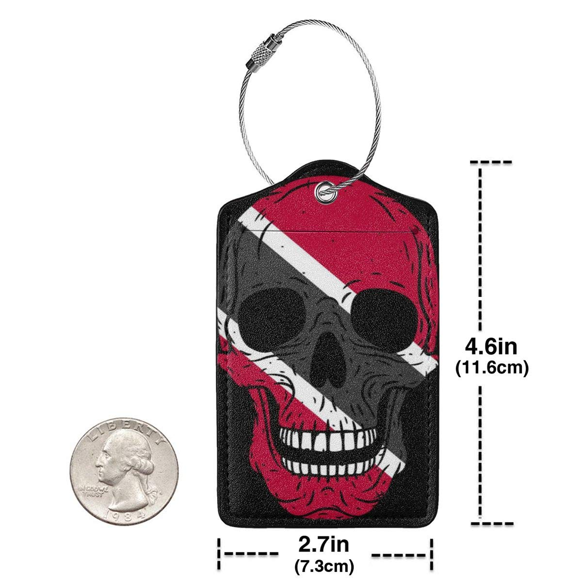 ROLLING HOP Skull with Flag of Trinidad and Tobago Travel Luggage Tag Fashionable Employees Card Luggage Tag Holders Travel ID Identification Labels.